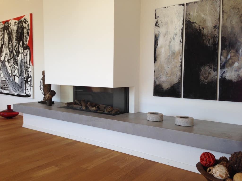 chemin e gaz avec tablette en b ton cir gris clarens. Black Bedroom Furniture Sets. Home Design Ideas