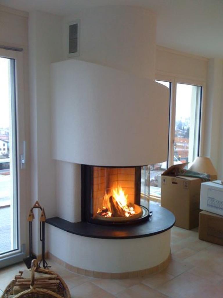 Exemple de chemin es de forme ronde art feu villeneuve - Cheminee circulaire ...