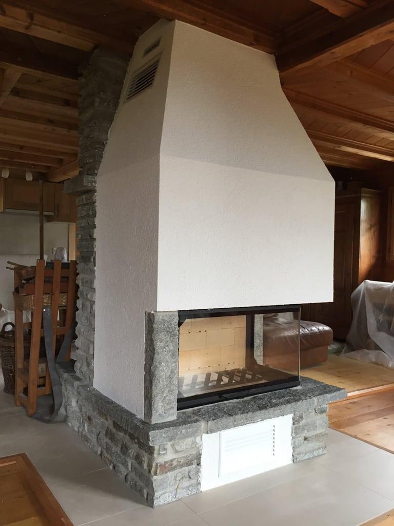 Transformation d 39 un foyer ouvert aux diablerets art feu - Recuperateur de chaleur foyer ouvert ...