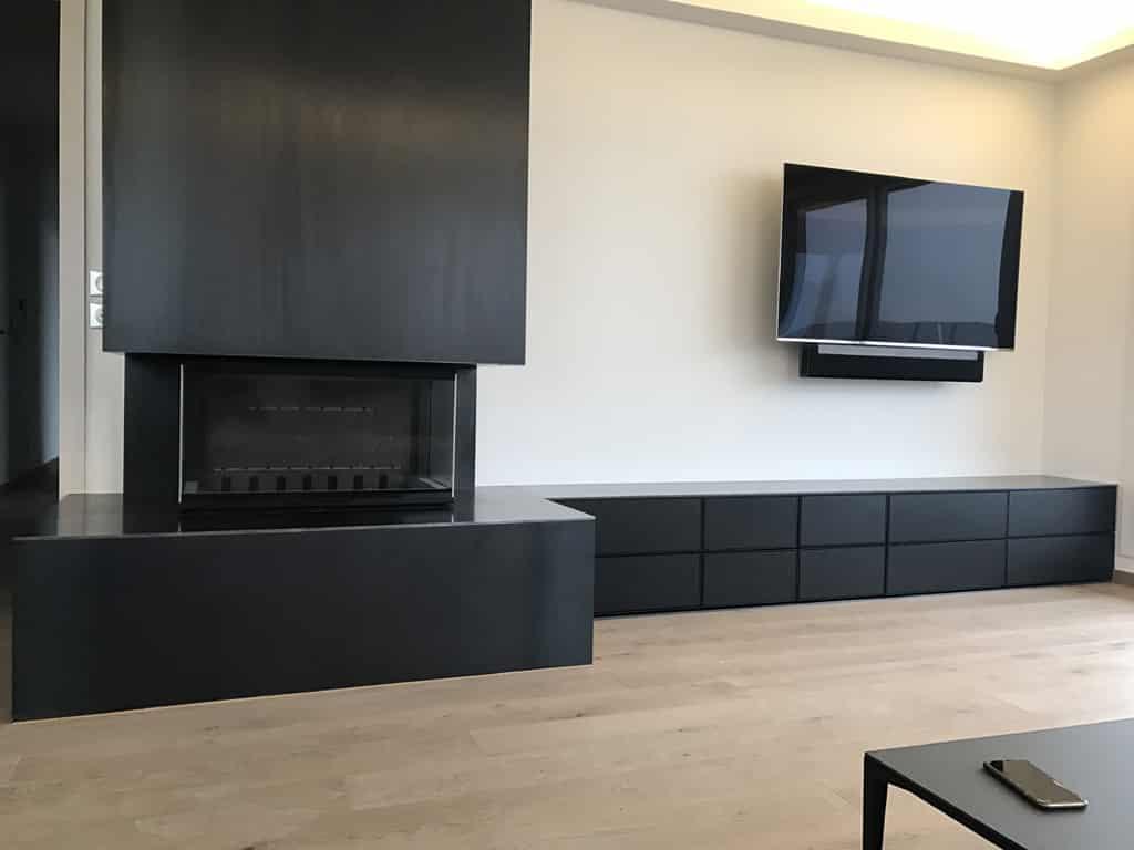 chemin e contemporaine en acier brut publier france art feu. Black Bedroom Furniture Sets. Home Design Ideas